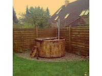 HOT TUBS - Wooden wood fired fiberglass hot tub - Winter is time for good rest