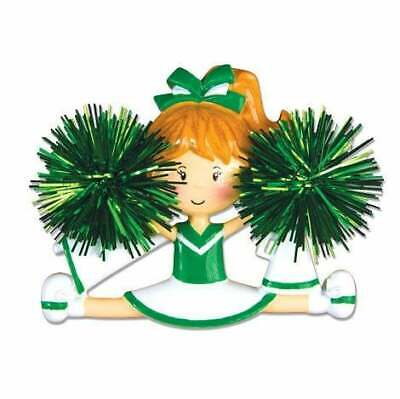 Cheerleader Green Personalized Christmas Ornament OR1488-G ()