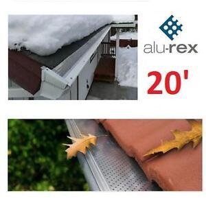 NEW ALU-REX RAIN GUTTER PROTECTION CLIP N GUARD - 20' - ALUMINUM GUTTER SYSTEM - 8 PCS x 2.5' 106791240
