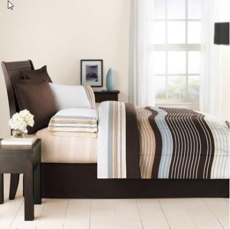 queen bed in a bag blue brown ebay. Black Bedroom Furniture Sets. Home Design Ideas
