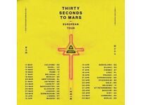 30 Seconds to Mars - Glasgow Hydro, Sunday 25th March **REDUCED PRICE**