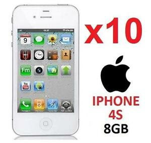 10 NEW APPLE IPHONES 4S 8GB LOCKED WHITE - CELL PHONE - SMARTPHONE SMART PHONE - DEALER WHOLESALE LOTS 99259846