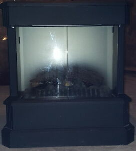 Matte Black Electric Fireplace With Glass Doors