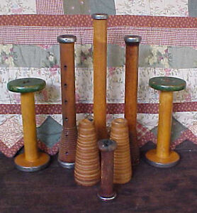 NICE LOT Old Antique Wooden Textile Mill silk thread Spools / Bobbins wood