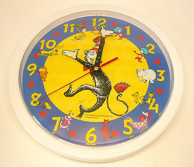 """DR SEUSS CAT IN THE HAT Scholastic 3D Style  Classic Characters 10"""" WALL CLOCK"""