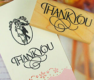 Thank You Wood Mounted Rubber Stamp Wedding Favours Calligraphy Greetings Stamp