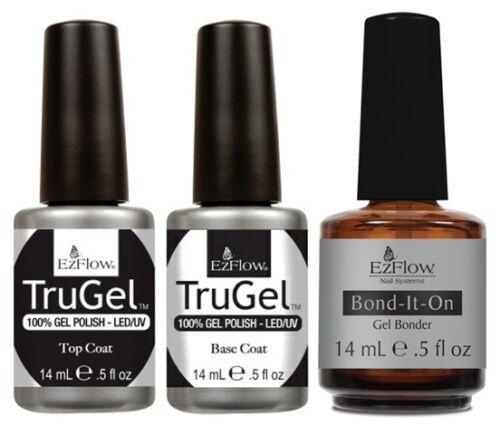 EzFlow TruGel UV Gel Polish - Base Coat + Top Coat + Bond-It-On - 0.5oz / 15ml