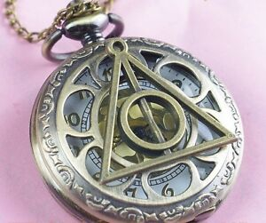 Harry Potter Deathly Hollows Pocket Watch necklace,Golden Dial Pocket Watch