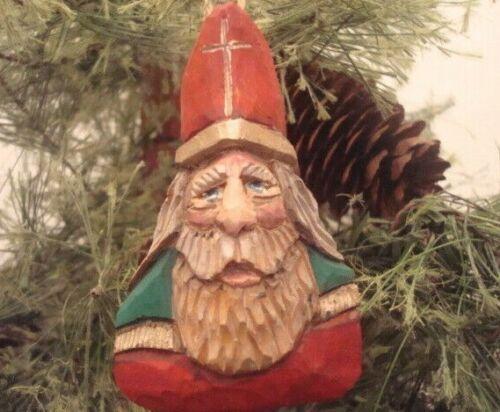 "3"" Hand Carved Basswood Heirloom Primitive Bishop  Santa Ornament By Salinas"