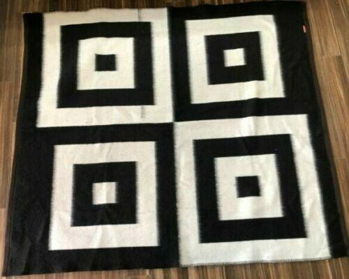 Santa Catalina Alpaca Blanket 84x74 Peruvian - Squares White/Black Reversible