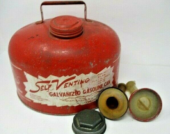 Vintage EAGLE Self Venting Galvanized Gasoline Can, 2.5 Gal. w/2 Pour Spouts