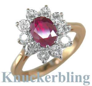 Ruby and Diamond Cluster Ring, 2.50ct 18ct Gold, F Colour Brilliant Cut Diamonds