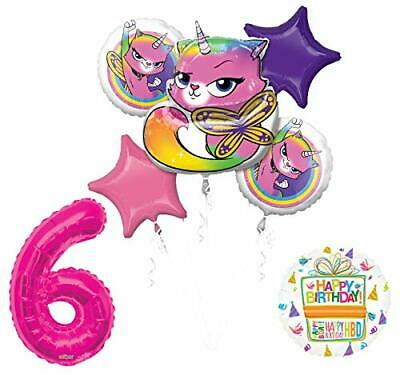Mayflower Products Rainbow Butterfly Unicorn Kitty 6th Birthday Party Supplies
