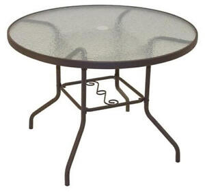 Patio Round Dining Table Set Glass Deck Outdoor Furniture Garden Pool Yard NEW
