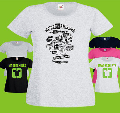 106 Miles To Chicago Ladies PRINTED T-SHIRT Blues Brothers Movie Car (Blues Brothers Miles To Chicago)