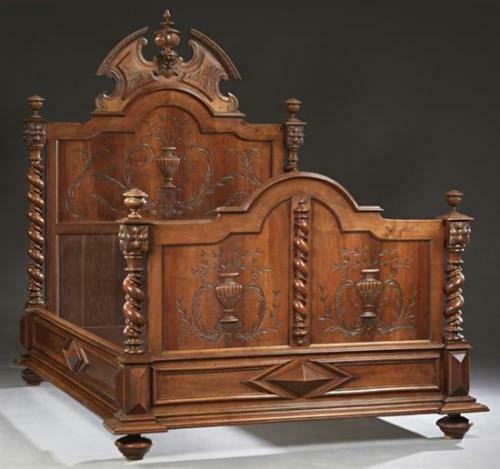 French Henri II Carved Walnut Antique Double Bed, late 19th c.