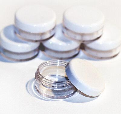 50 x 10ml CLEAR PLASTIC SAMPLE JARS/POTS Glitter/Cosmetic/Cream jfw50