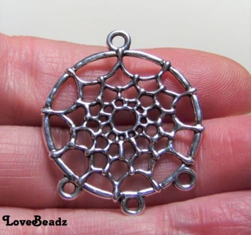 10 Silver Dreamcatcher Pendants-Earring Connectors-$30 ORDERS SHIP FOR FREE