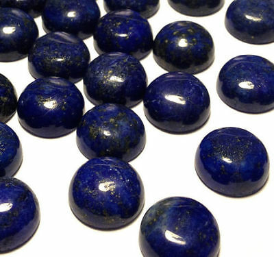 5 PIECES OF 3mm ROUND CABOCHON-CUT NATURAL AFGHAN LAPIS LAZULI GEMSTONES