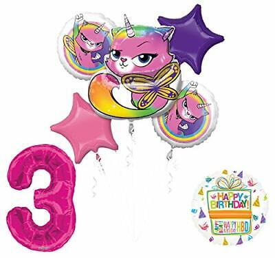 Mayflower Products Rainbow Butterfly Unicorn Kitty 3rd Birthday Party Supplies