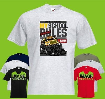 My Little Bus Mens Printed T Shirt School Rules Monster Truck Text Education