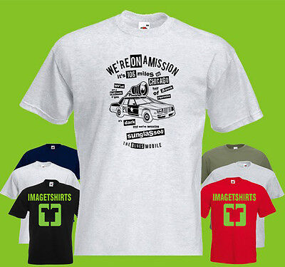 106 Miles To Chicago Mens PRINTED T-SHIRT Blues Brothers Mission (Blues Brothers Miles To Chicago)