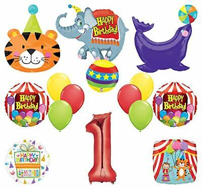 Mayflower Products Circus Theme Big Top 1st Birthday Party Supplies and Balloon - 1st Birthday Circus Party Supplies