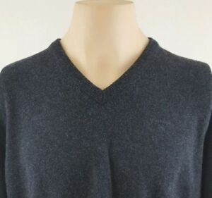 BARBOUR Mens V-Neck Lightweight Lambswool Gray Sweater Size XL