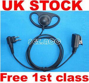 Motorola Radio D Shape Earpiece Headset microphone for CP040 CP200 GP300 2 Pin