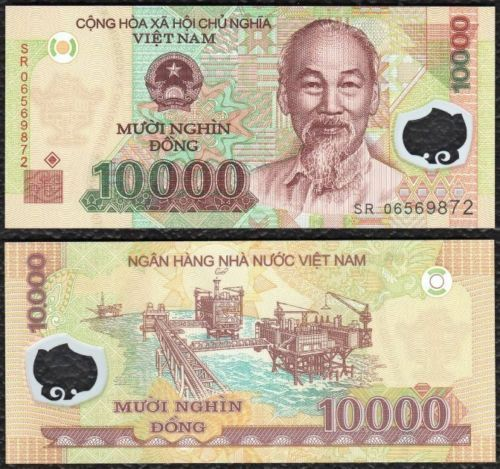 VIETNAM 10000 (10,000) Dong, 2011-2015, P-119 NEW, Polymer, UNC World Currency