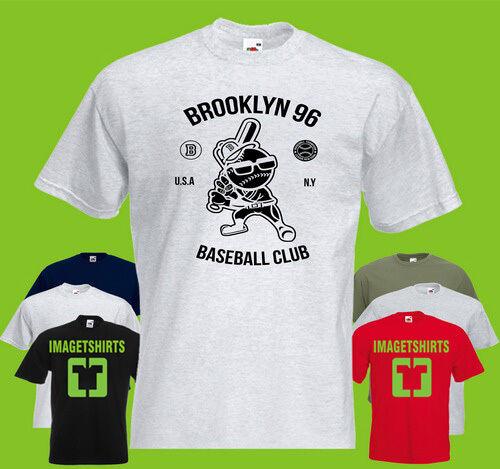Brooklyn Baseball Mens PRINTED T-SHIRT Text Club Bat Sport USA NY