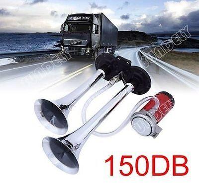 SUNDELY Dual Trumpet Air Horn 12 V 150dB Car Truck RV Train Boat Loud