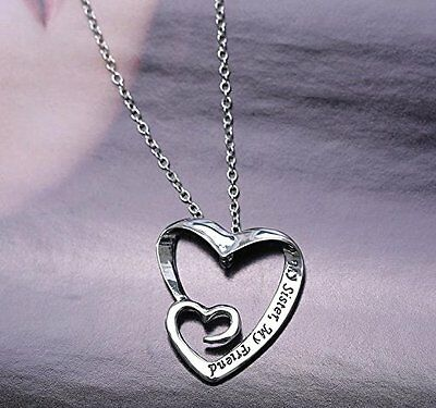 Heart Pendant Necklace  My Sister  My Friend   18  Chain  Silver Plated
