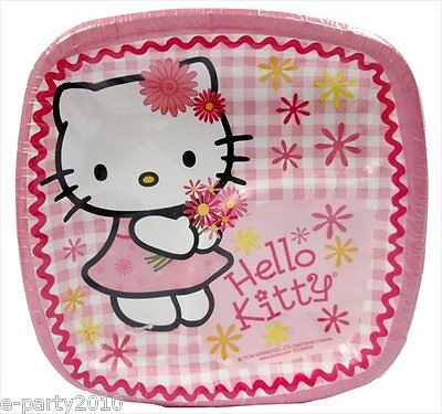 HELLO KITTY Pink Plaid SMALL PAPER POCKET PLATES (8) ~ Birthday Party Supplies - Plaid Paper Plates