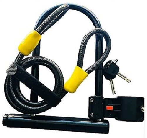 Heavy Duty Bike U Lock with Cable, Bicycle U-Lock with strong Cable