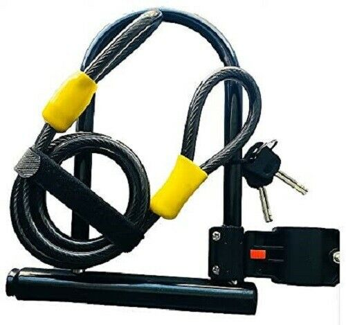 Heavy Duty Bike U Lock with Cable, Bicycle U-Lock with stron