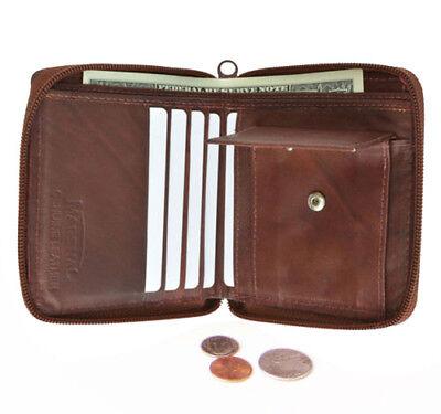 Brown Zipper Secured Bifold Wallet Men's 100% Genuine