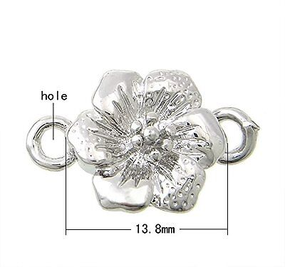 Magnetic Flower Clasp 14mm x 7mm Silver Color - pack of 2 clasps  (FNCM1475F)