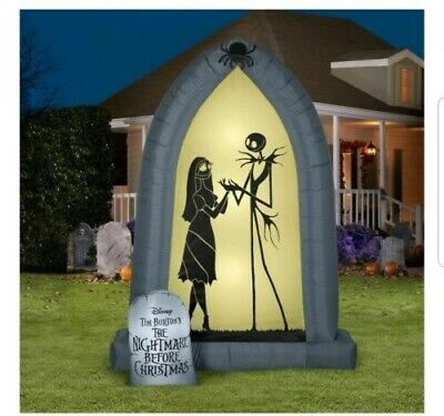 Nightmare Before Christmas Jack and Sally Airblown Outdoor Arch Inflatable 7ft
