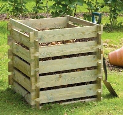 Wooden Compost Bin Composter Outdoor Garden Waste Small 373L by Lacewing