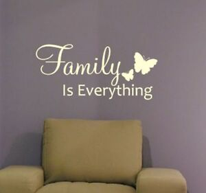 family is everything wall sticker decal quote wqa51. Black Bedroom Furniture Sets. Home Design Ideas
