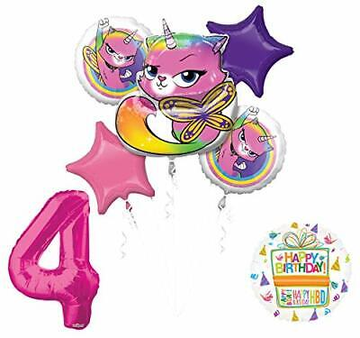 Mayflower Products Rainbow Butterfly Unicorn Kitty 4th Birthday Party Supplies