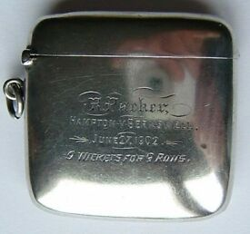 Rare English Silver Vesta Case, Cricket Interest, Ins.Hampton v Berkswell, c1902
