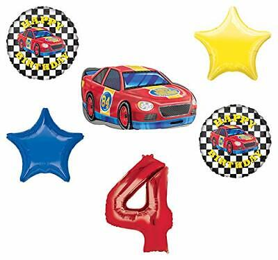 Race Car Theme 4th Birthday Party Supplies Stock Car Balloon Bouquet Decorations