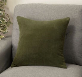 Plump Green Corduroy Square Cushion[37cmx37cm].