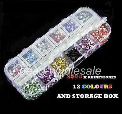 3000pcs 12Grid  Nail Art Crystal Flatback Acrylic Gem Bead 2mm With Box  on Rummage