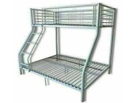 🔵💖🔴FREE DELIVERY🔵💖🔴NEW TRIO SLEEPER METAL BUNK BED WITH MATTRESS SINGLE TOP DOUBLE BOTTOM