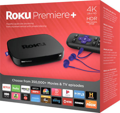 New Roku Premiere+ plus 4K UHD HDR Streaming Media Player 4630RW, Quad-Core