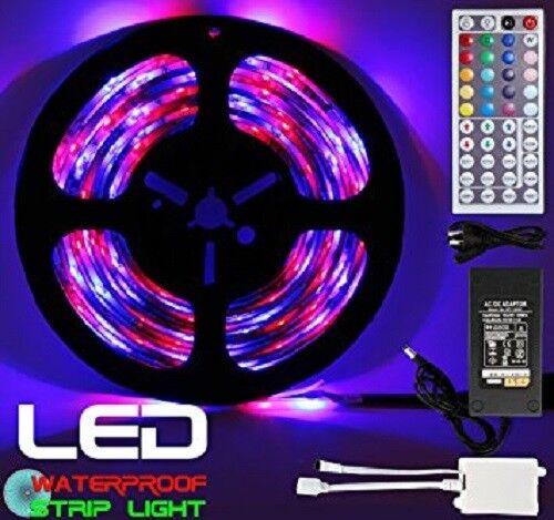Waterproof  5M SMD RGB 5050 150 LED Strip Light 44 Key Remote 12V 5A Power Kit Car Electronics Accessories