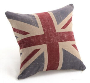 Vintage Cotton Linen Cushion Cover Home Decor Union Jack British National Flag